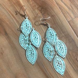 Saks Fifth Ave teal earrings